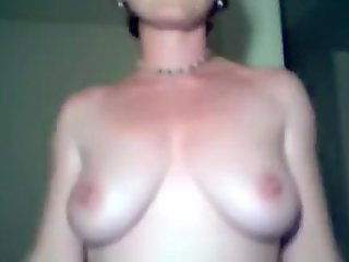 Gal with large teats and slighty hanging pointer GFs flashes 'em on webcam
