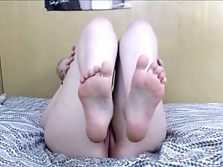 Naked Showing Off and Lotioning Feet, Spreading Toes