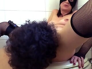 Milf squirting Milk creampie with lucky boy in Toilet Italy