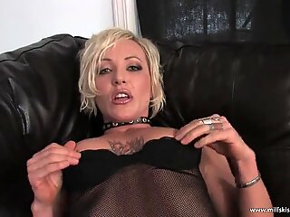big red faux-cock pleases horny blonde MILF
