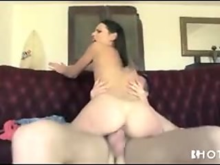 Slender brunette moaning while pounded by her man