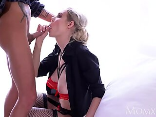 MOM Sexy big tits blonde MILF Florane Russel sex in lingerie