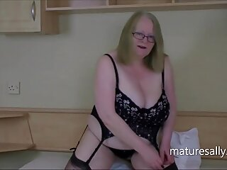 Sally's huge tits and pussy in flowery basque