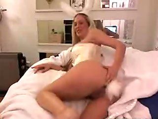 Cutie Little bunny playing with her butt plug