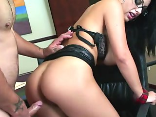Nasty chick fingers her man while he cums hard