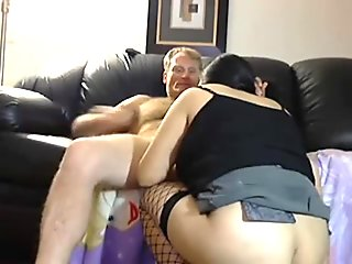 Asian in fishnets gets fucked by her Husband