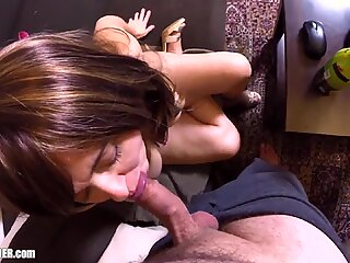 Big Tits MILF masturbates with a Bottle! Real Amateur Orgasm &amp_ Titfucking Cumshot. Curvy Britney Swallows fingering herself to climax in Stripper Heels.