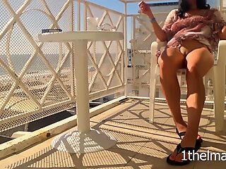 Compilation of risky orgasms on the balcony. Amateur wife flash
