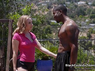Sucking and riding big black dick in the shower