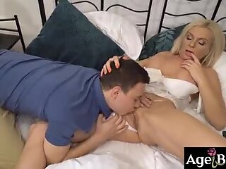 Stepson Nikki grabs stepmoms soft tits   and sucks on them before eating her pussy