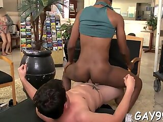Interracial sex begins with blow and proceeds with anal sex