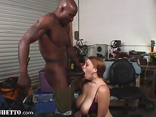 Thick White Redhead Throats and Titfucks BBC in Garage