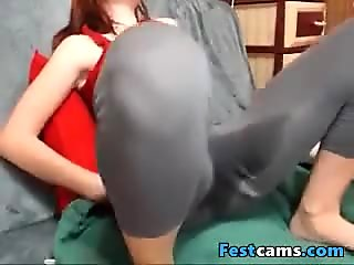 Horny student redhead in yogapants squirting