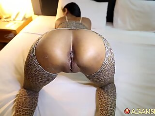 Asian Sex Diary - Sexy Asian babe gets hammered on by BWC