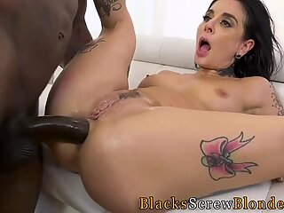 Tattooed slut takes big black cock