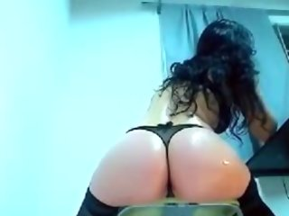 Sexy brunette shows her big globes