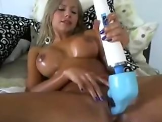 Gorgeous outstanding cutie oiling and hitachi masturbate