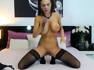 Raisabella big tits and sucking dildo