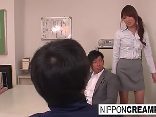 japanese stunner has a three-way in the teacher's lounge