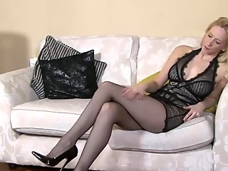 Busty round ass MILF wearing stockings bounces on big cock