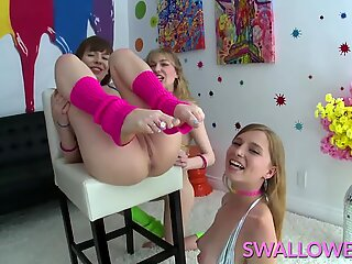 3 Girls Play w Each Other - and with 1 Big Dick