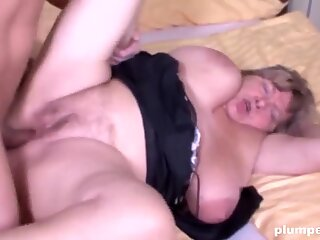 Horny old cunt is so happy to be fucked by a big young cock